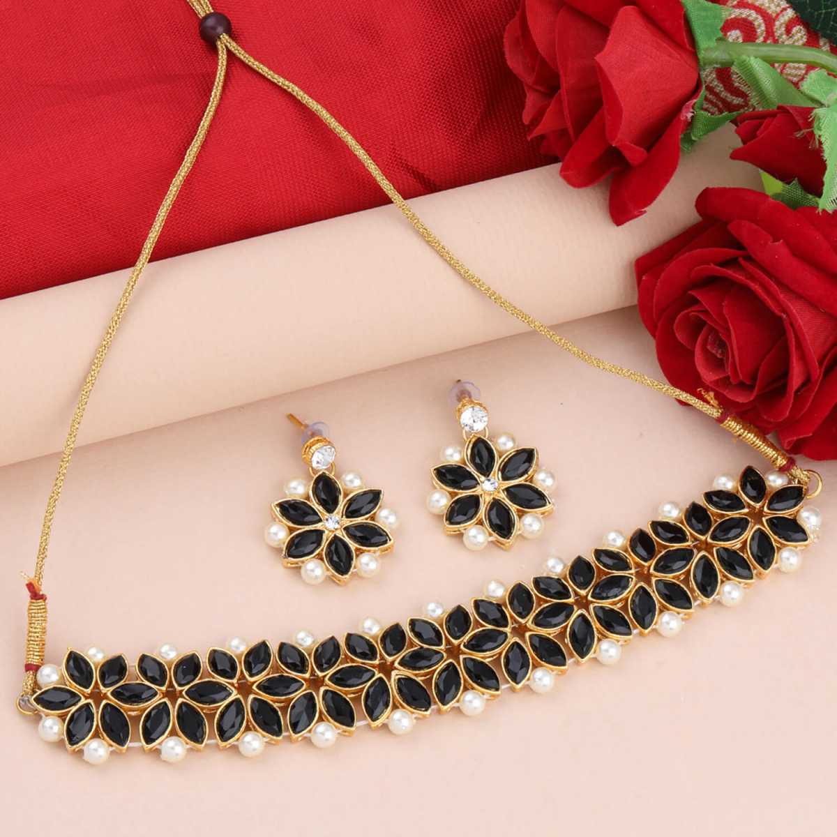 SILVER SHINE Gold Plated Exclusive Black Stone Choker Set For Girls And Women