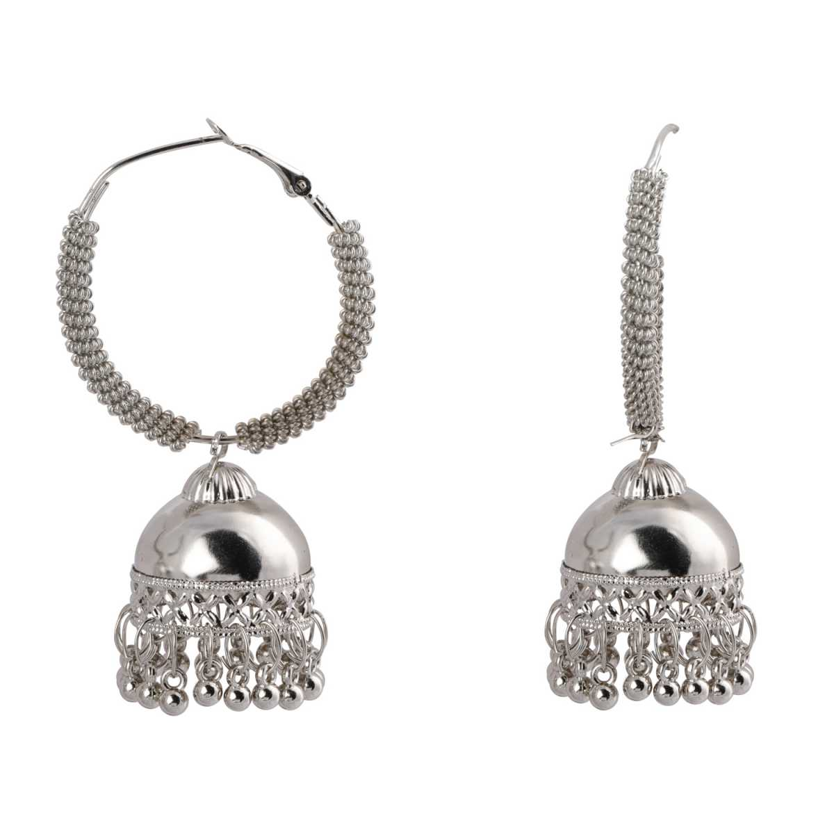 Silver Shine Elegant Silver Jhumki Earrings for Women