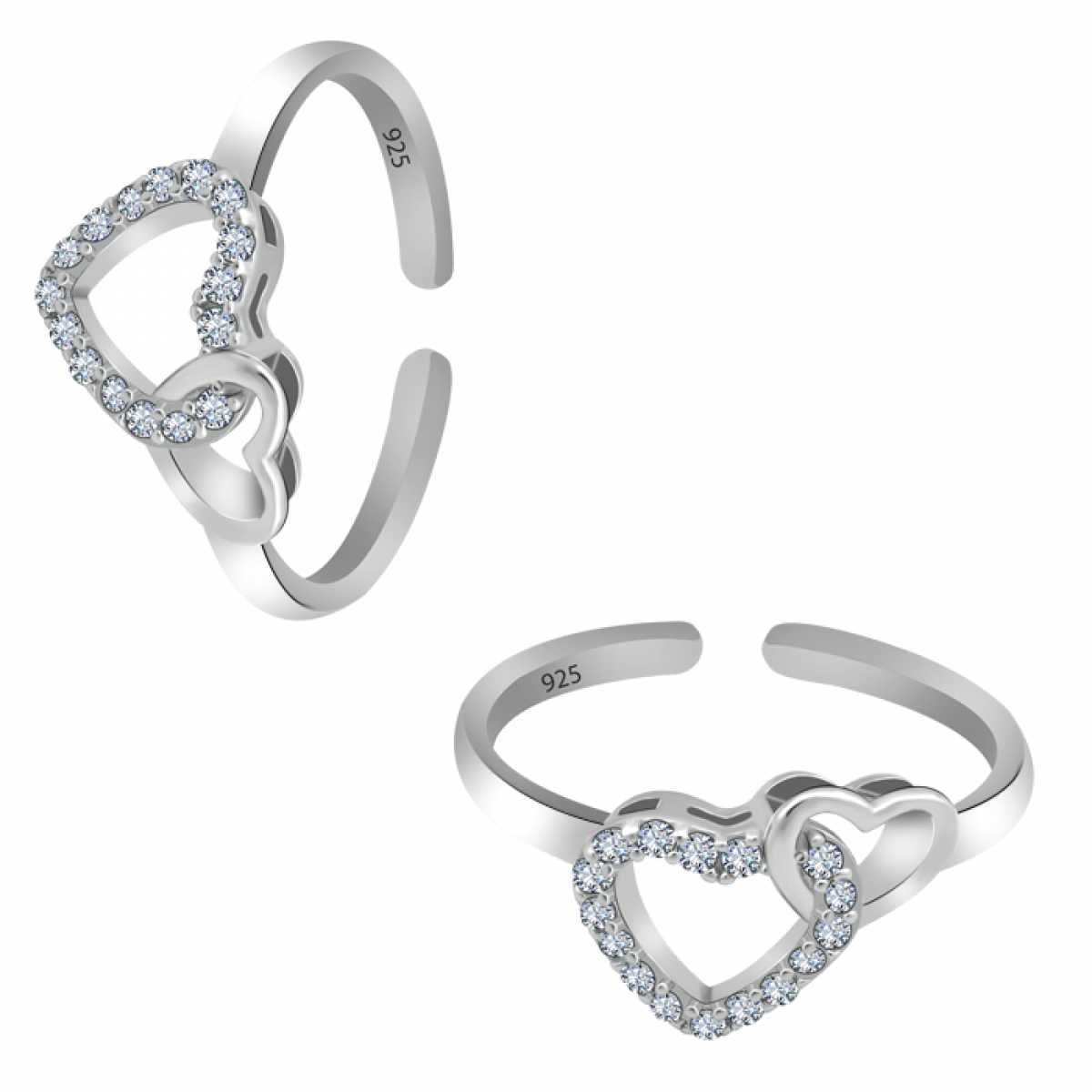 Double Cute Heart Silver Toe Ring