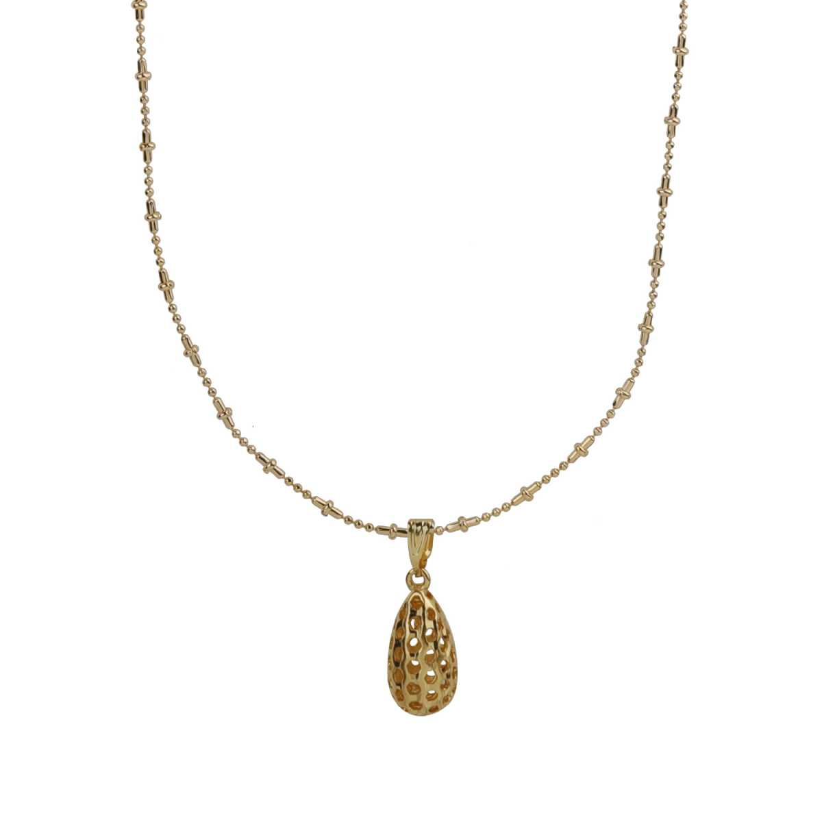 Silver Shine Alluring Gold Plated Hollow Drop Pendent Chain 19 Inch Daily Wear Jewellry For Girls/Boys/Men/Women