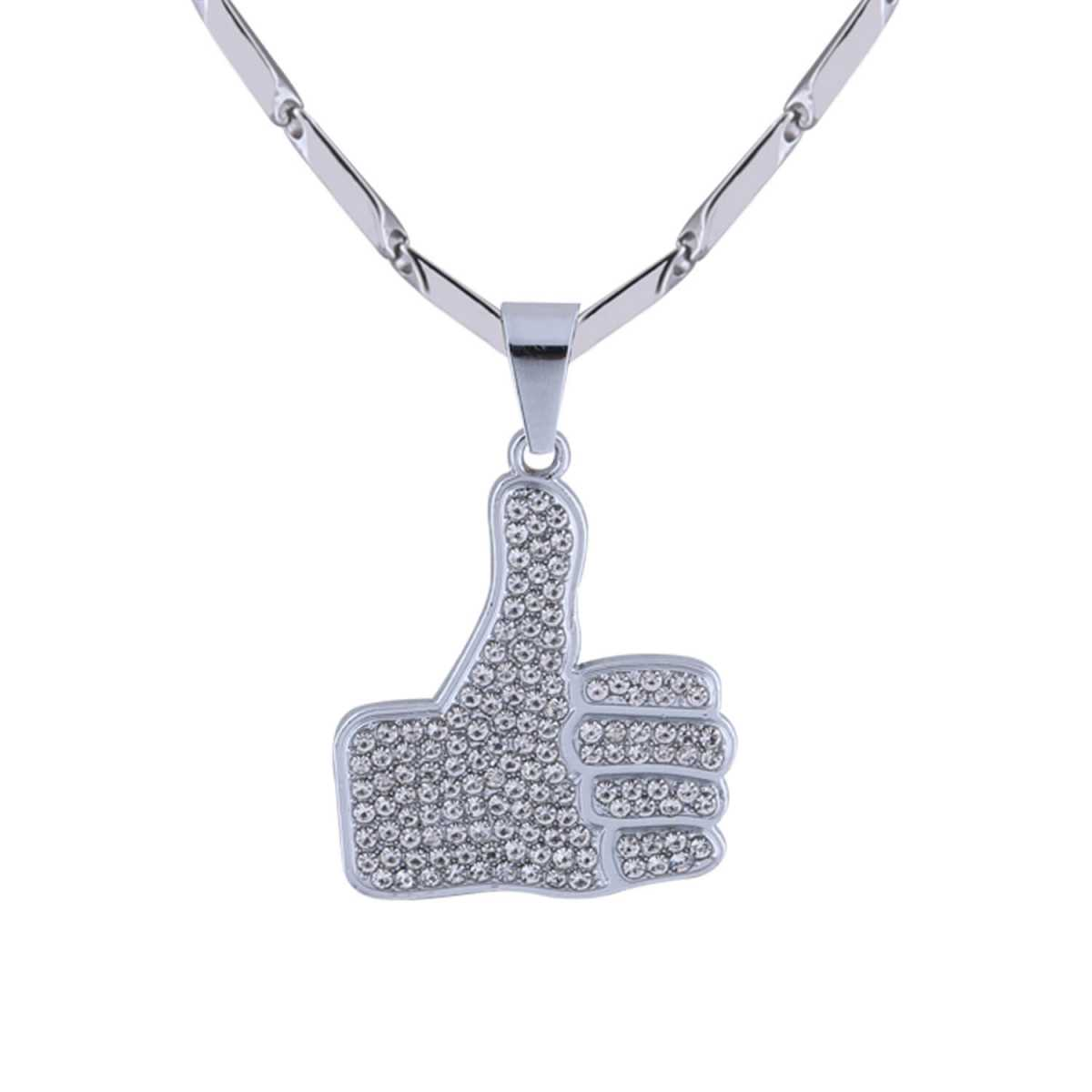 SilverPlated Adorable Classic Chain with Thumps Up Diamond Studded Pendant For Men and boy Jewellery