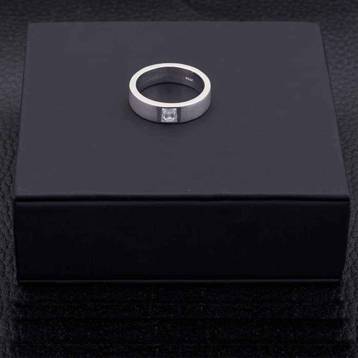 Silver Shine 92.5 Sterling Silver  Square Diamond Silver Ring  for Mens