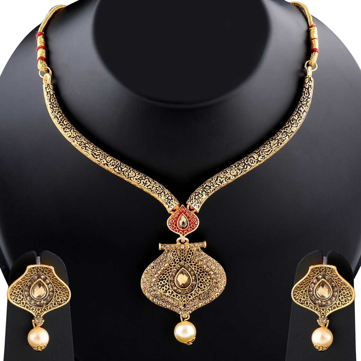 Exclusive Traditional GoldPlated Diamond Studded Pearl Drop Hasli Necklace Set for Women Jewellery