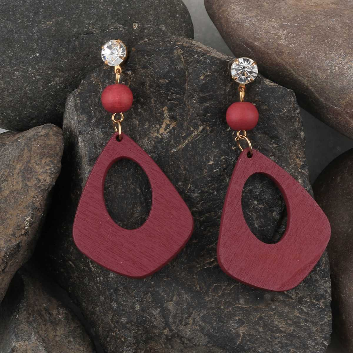 SILVER SHINE  Attractive Diamond Maroon Wooden Light Weight Earrings for Girls and Women.