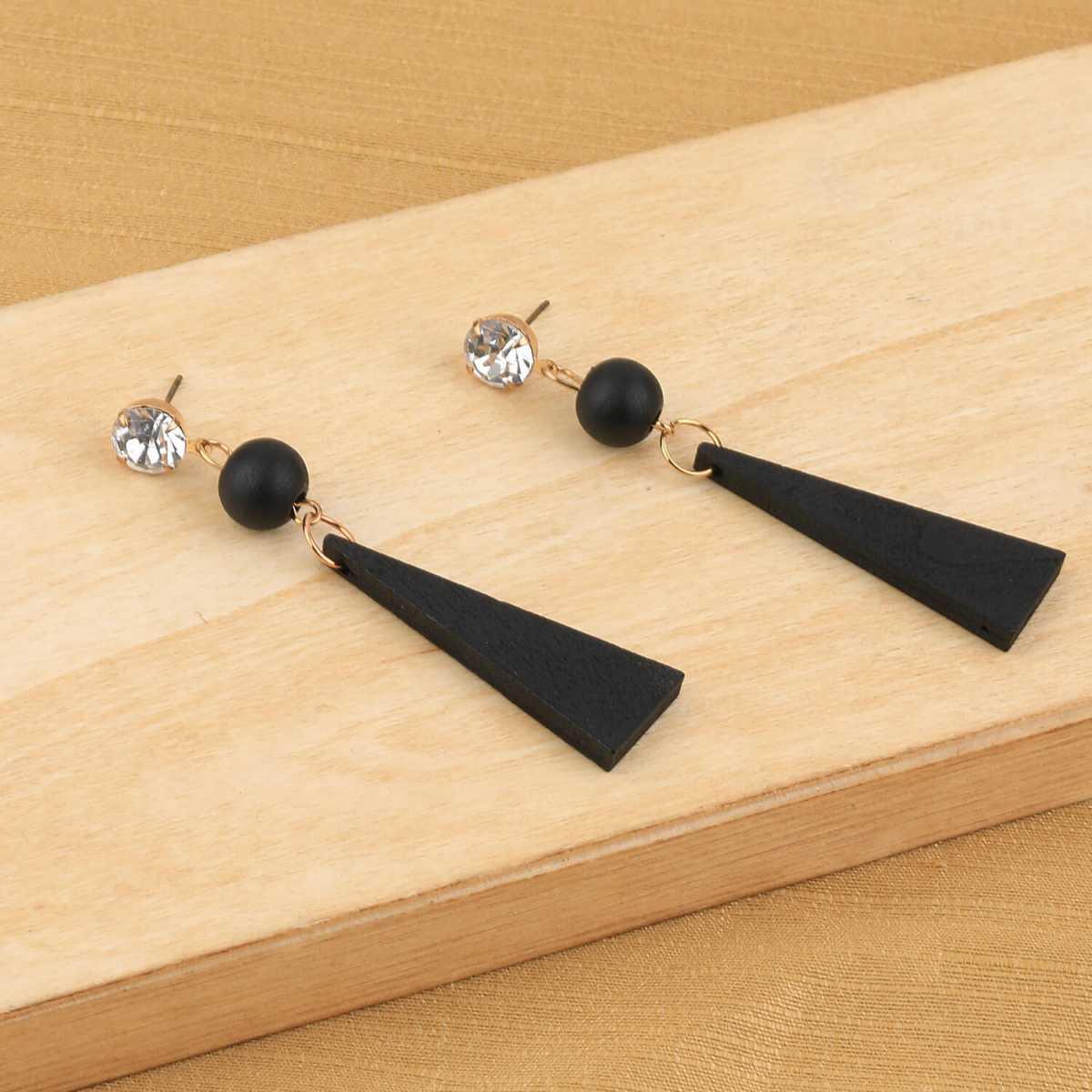 SILVER SHINE Exclusive Diamond Black Wooden Earrings Long Dangler Light Weight for Girls and Women.