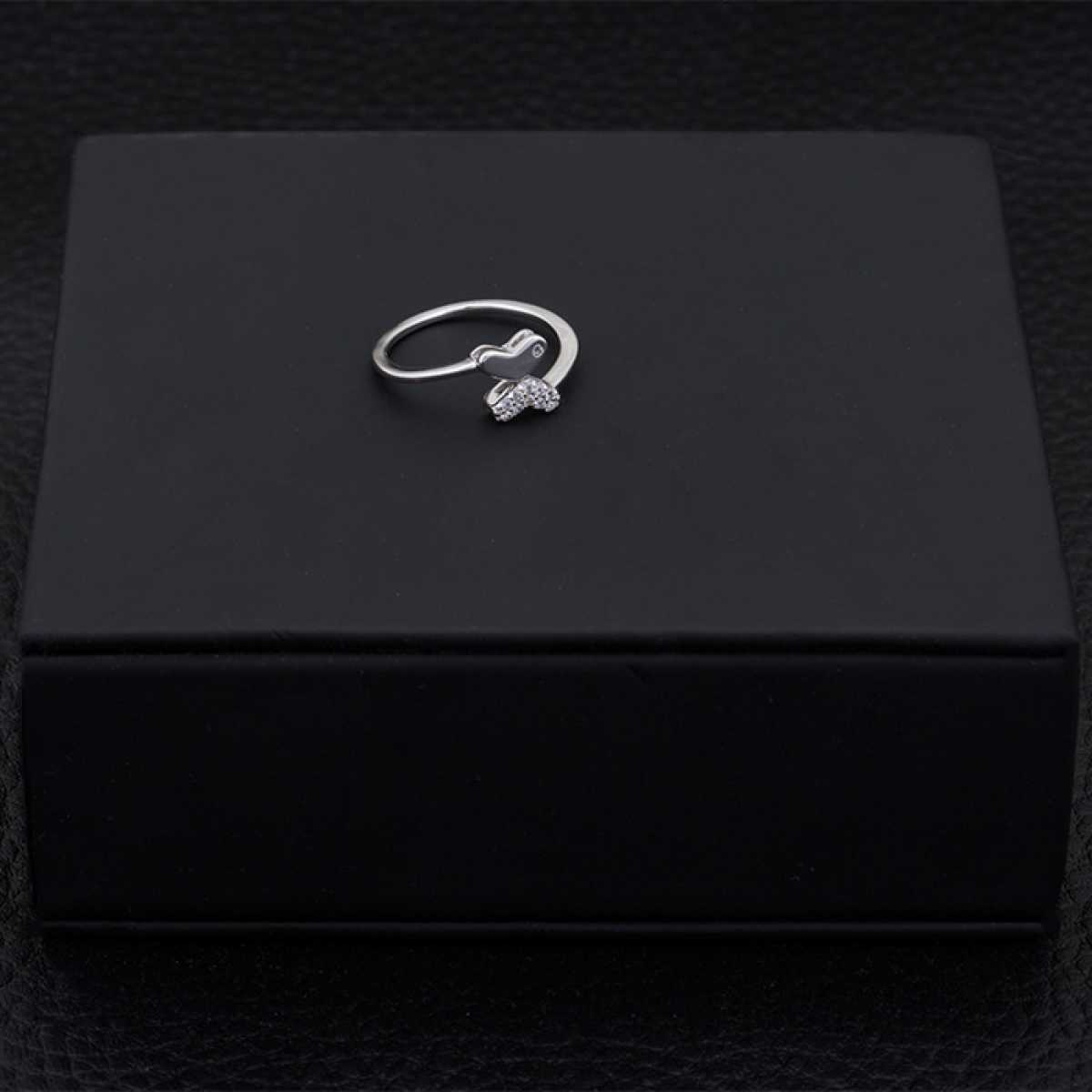 Butterfly With Diamonds Silver Ring