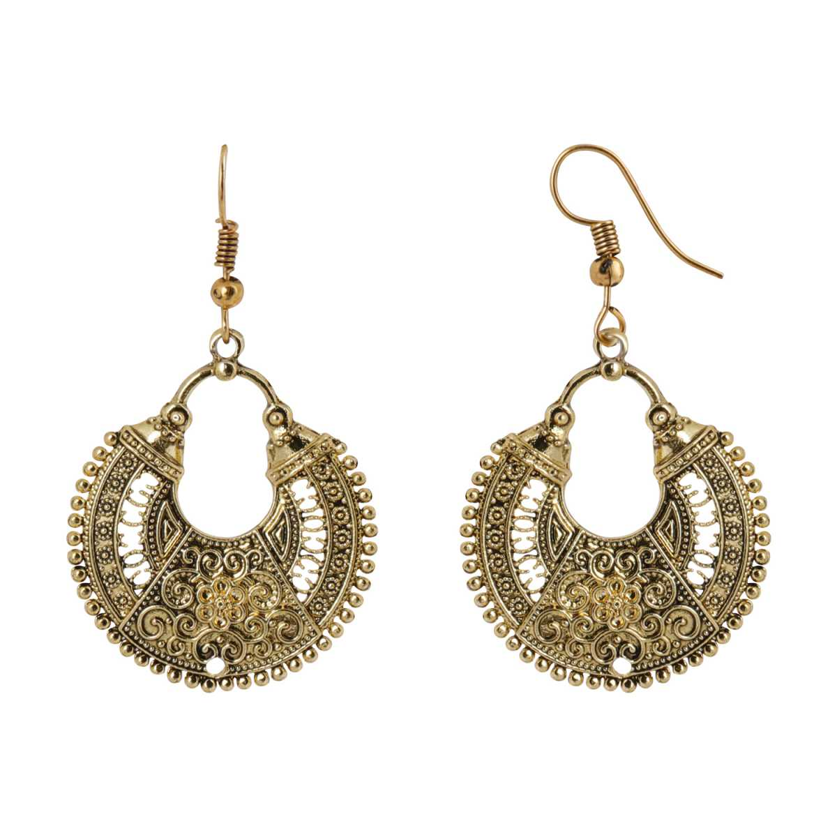Silver Shine Stunning Golden Chandbali Earrings for Women