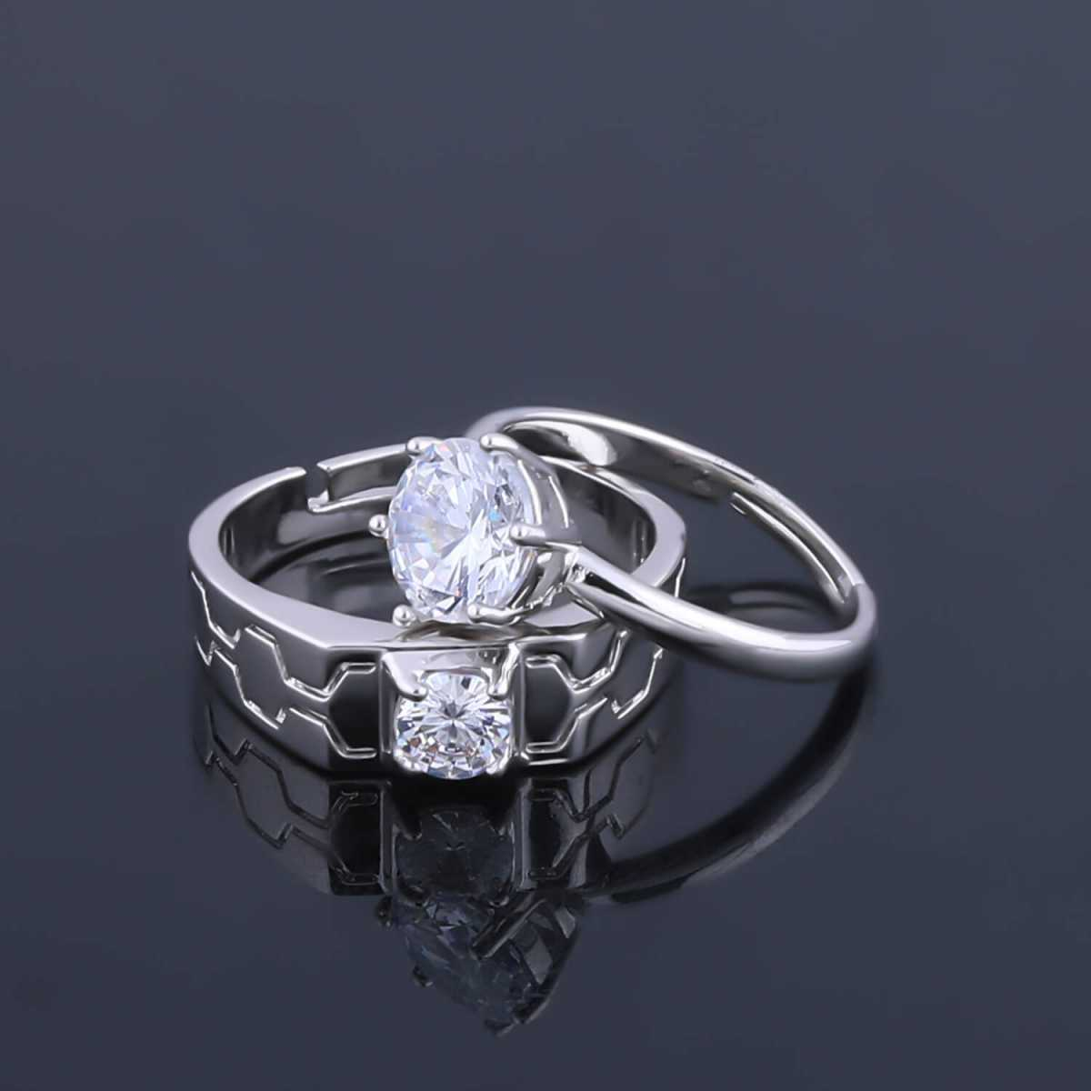 SILVERSHINE,silver plated round shine one diamond and carvingwith sharp look designer adjustable couple ring for men and women.