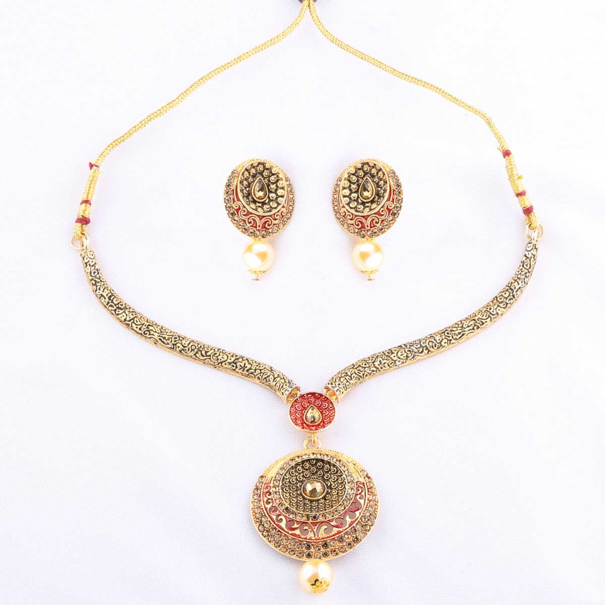 Royal Traditional GoldPlated Diamond Studded Pearl Drop Hasli Necklace Set for Women Jewellery