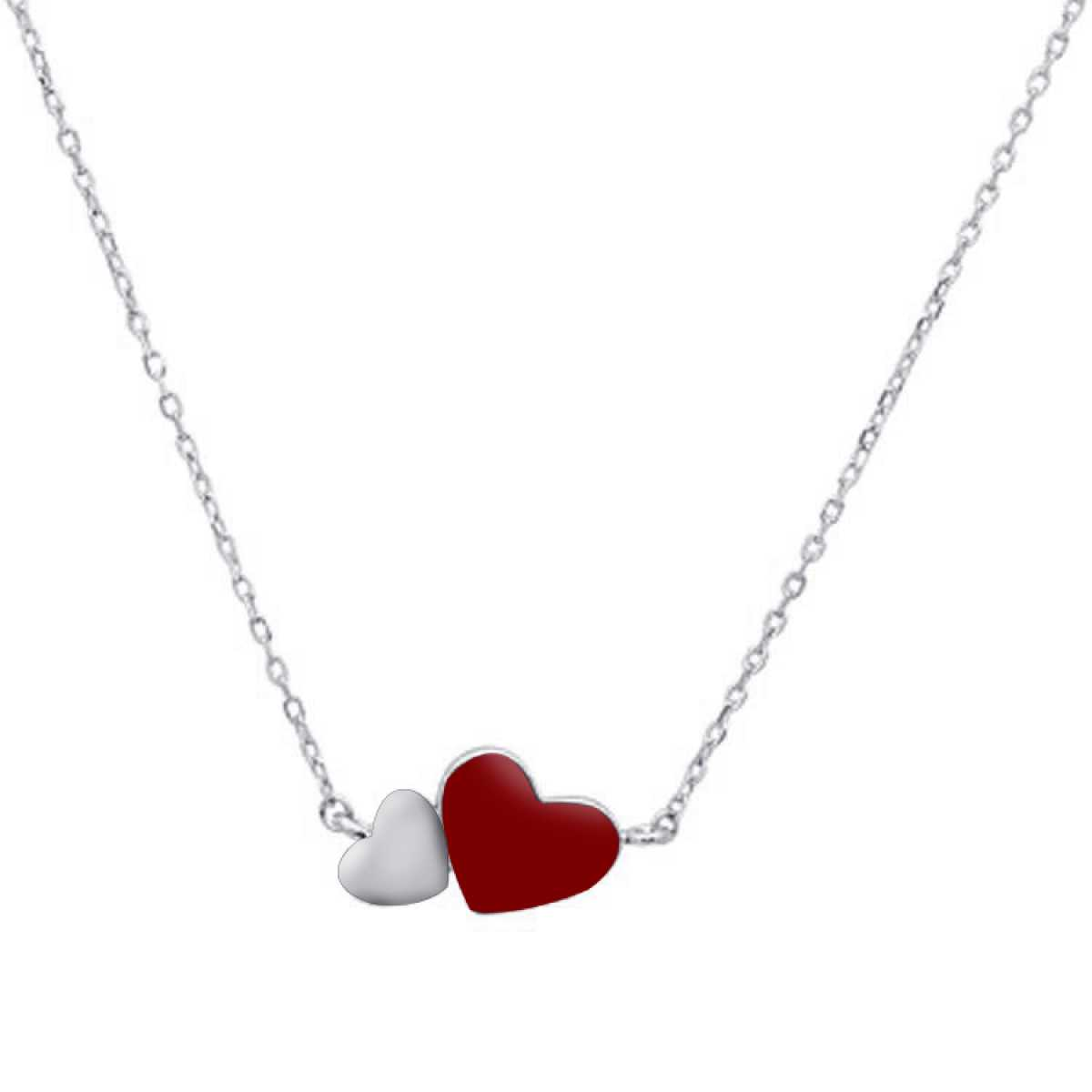 Dual Love Heart Sterling Silver  Chain