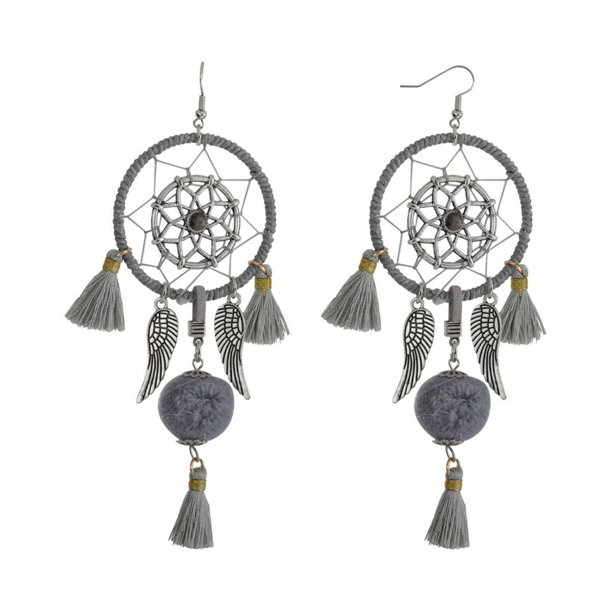 Silver Shine Grey Colour Unique Western Partywear Designer Earring For Girls and Women Jewellery