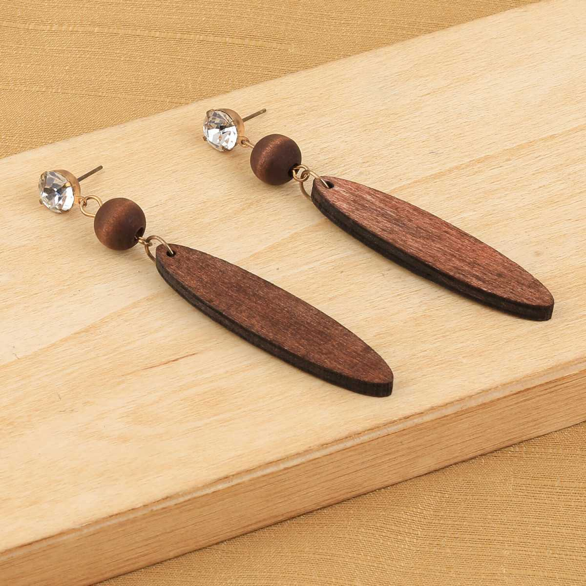 SILVER SHINE Ethnic Drop Brown Wooden Light Weight Fashion Earrings for Girls and Women.