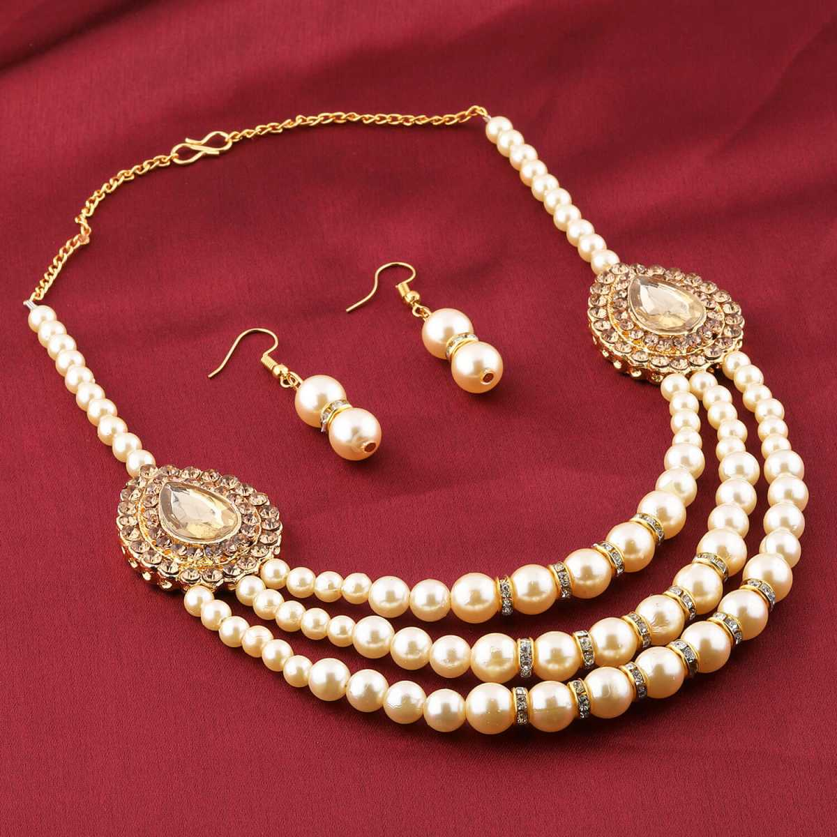 Exclusive Traditional Designer Diamond Studded Multi Layer Golden PearlMala Set For Women Jewellery