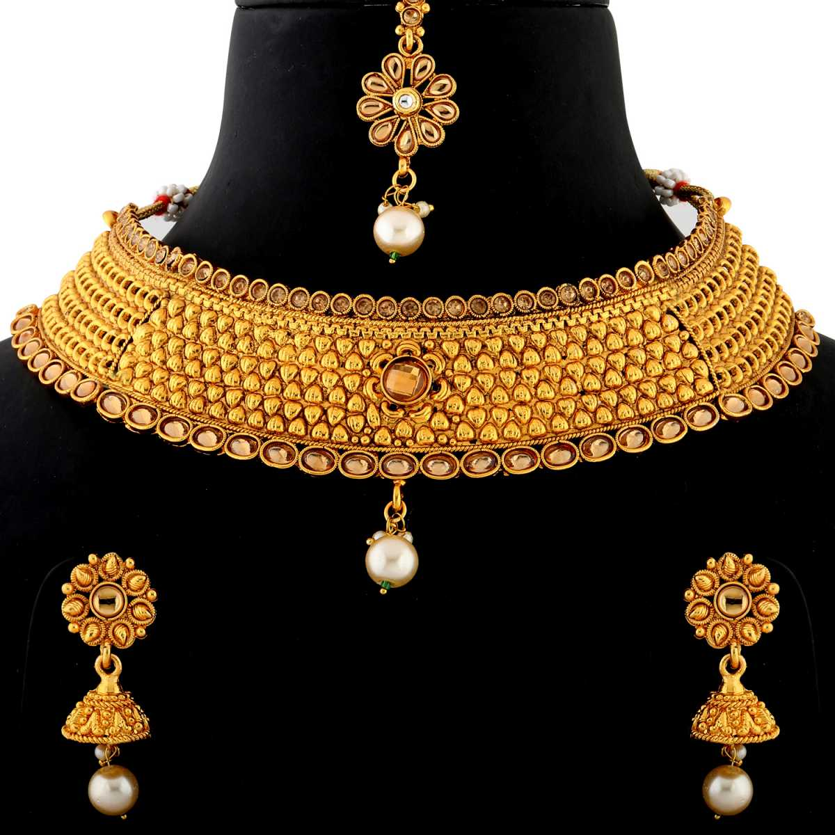 Silver Shine Gold Plated Choker Traditional Maharani style royal finish  kundan stone Studded design with Red bead Drop Designer Bridal Wedding Necklace jewellery set for Girls And Women