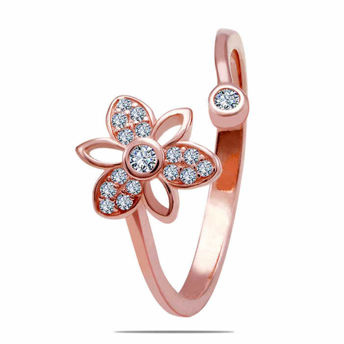 Diamond In Flower Silver Ring