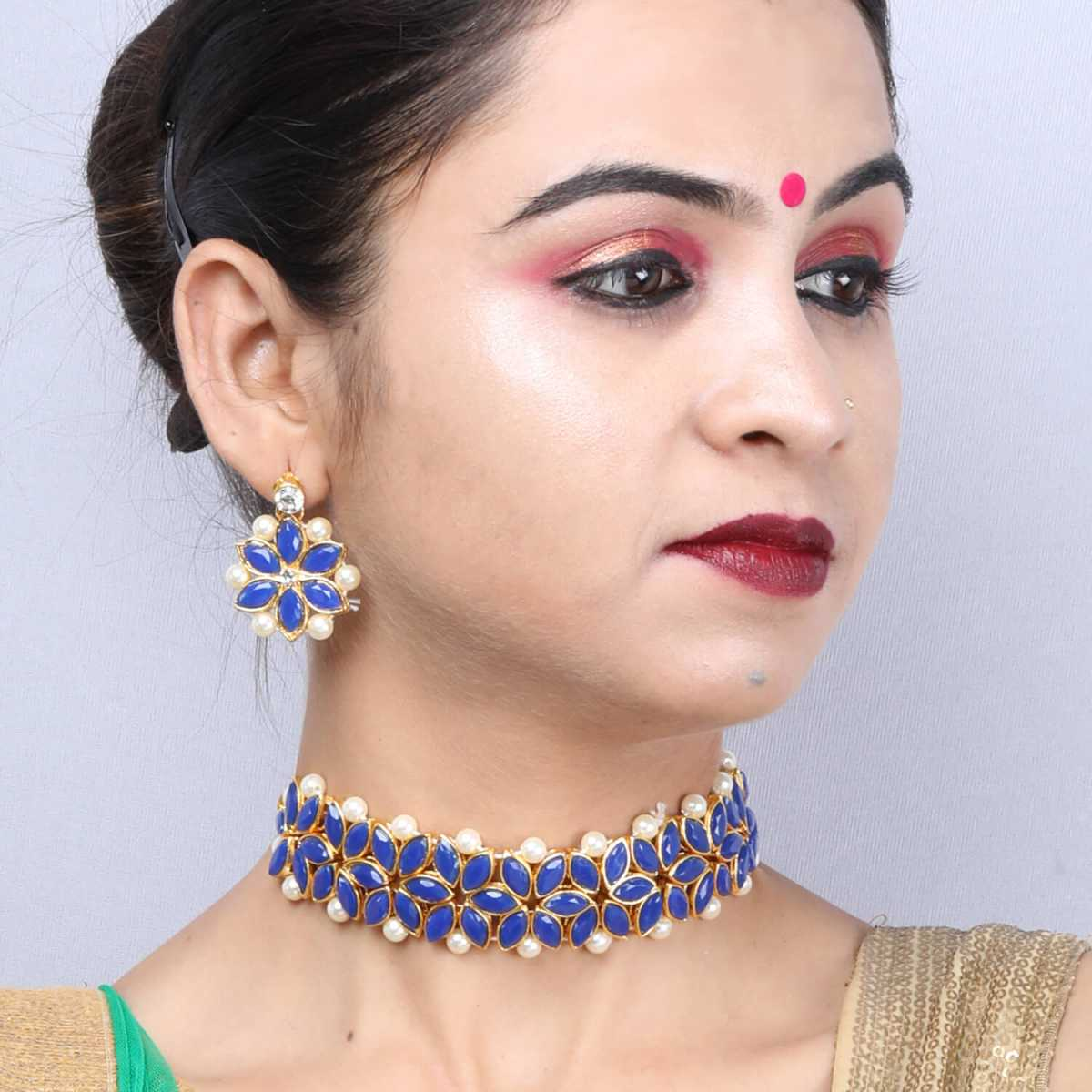 SILVER SHINE Gold Plated Exclusive Dark Blue Stone Choker Set For Girls And Women