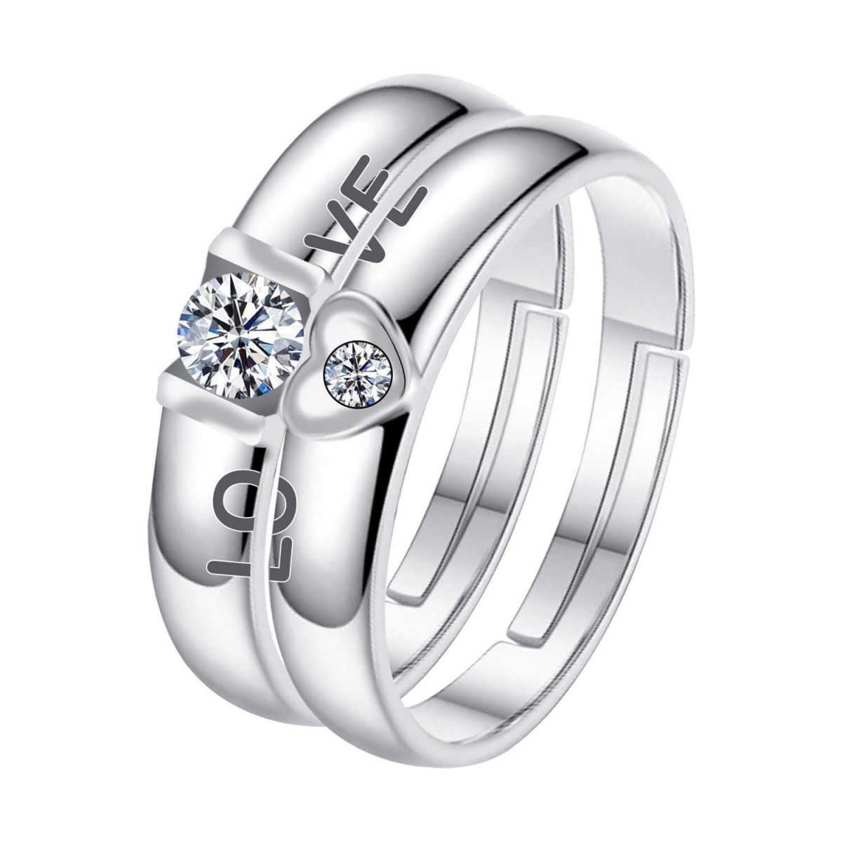 Silverplated  couple ring For Men And Women Jewellery