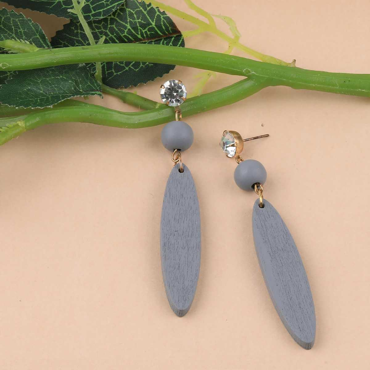 SILVER SHINE Designer Grey Wooden Fashion Earrings Perfect and Different Look For Women and Girl