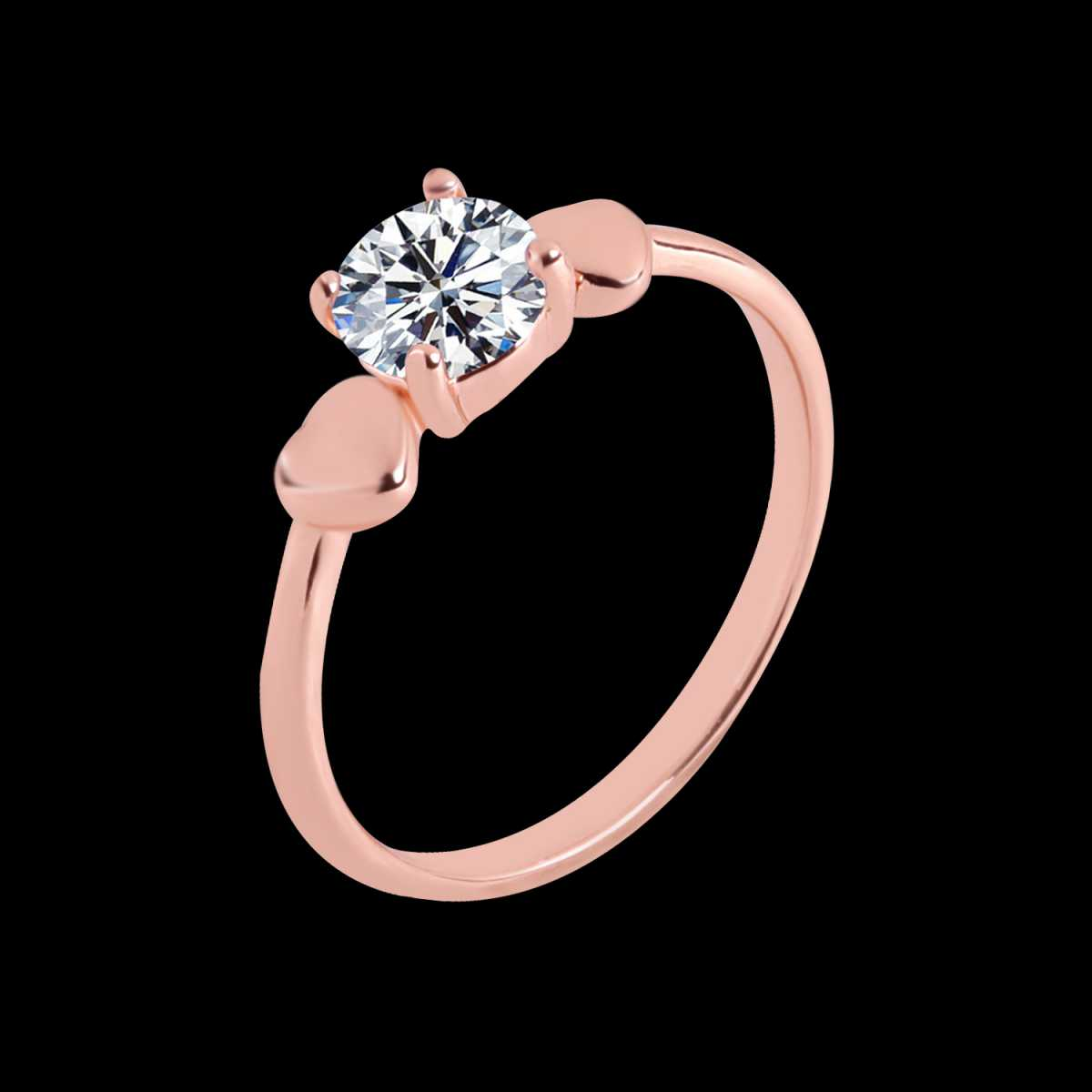 Silver Shine Rose Gold Plated Elegant Classic Crystal Heart Solitaire Ring for Girls and women