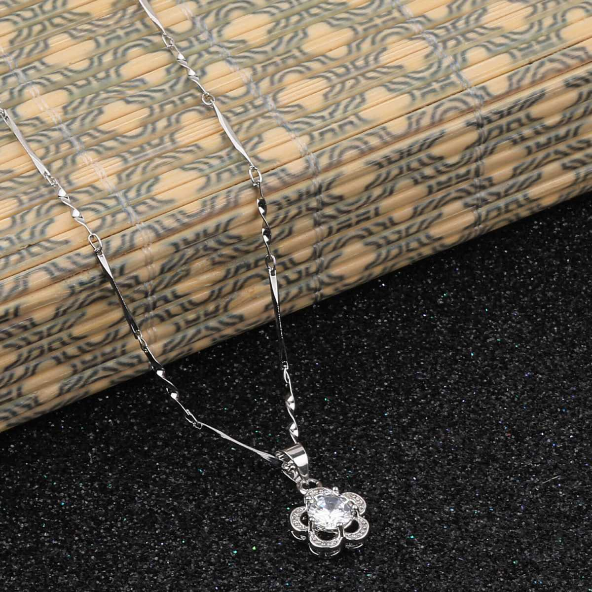 Silver Shine Silver Plated Chain With Attractive Flower Shape Solitaire Diamond Pendant For Women