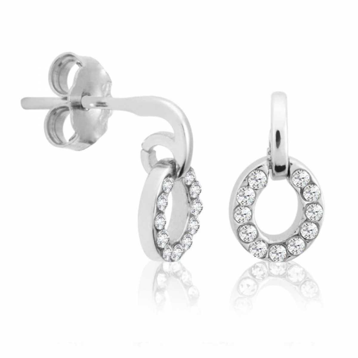 Circle Diamond Silver Earring