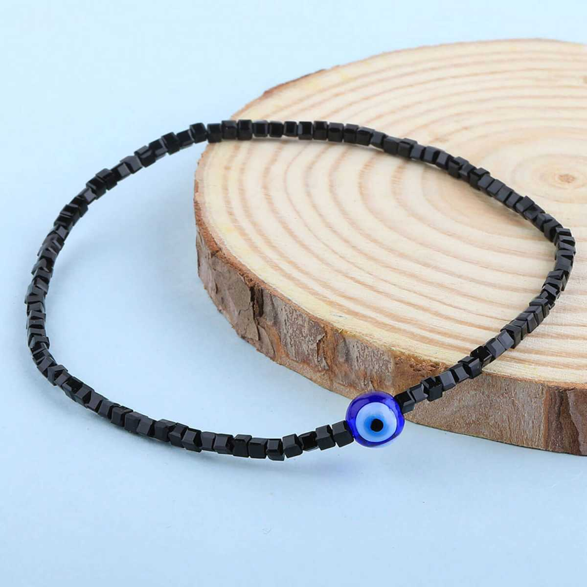 SILVER SHINE Designer Single Anklet  Black Beads for Women and Girl
