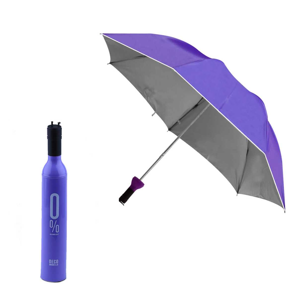 Silver Shine Double Layer Folding Portable Wine Bottle Umbrella with Bottle Cover(Assorted Color)