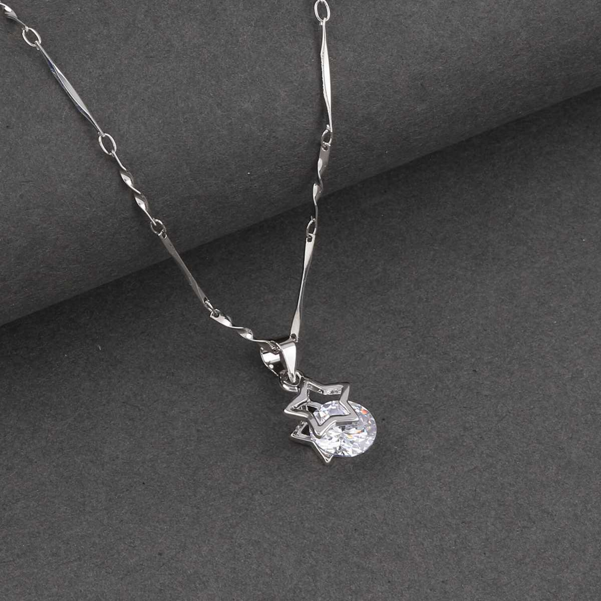 SILVER SHINE  Silver Plated Delicated Chain With Star Shape Solitaire Diamond Pendant For Women