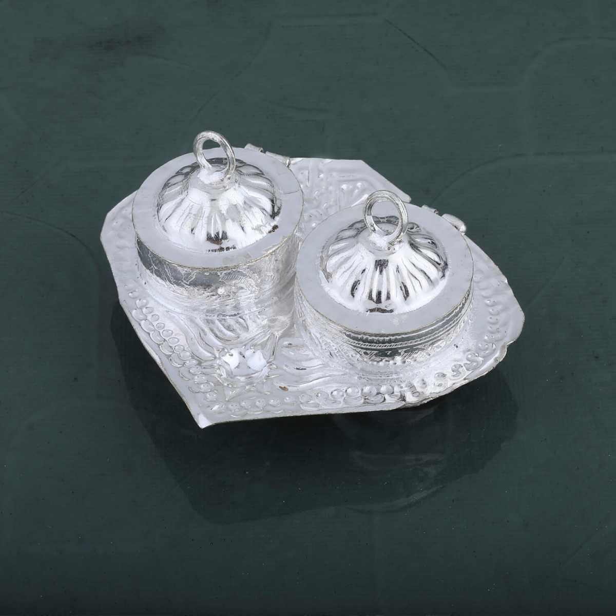 Silver Shine Silver Plated Designer 2 Kankavati Holder for Kumkum and Chawal