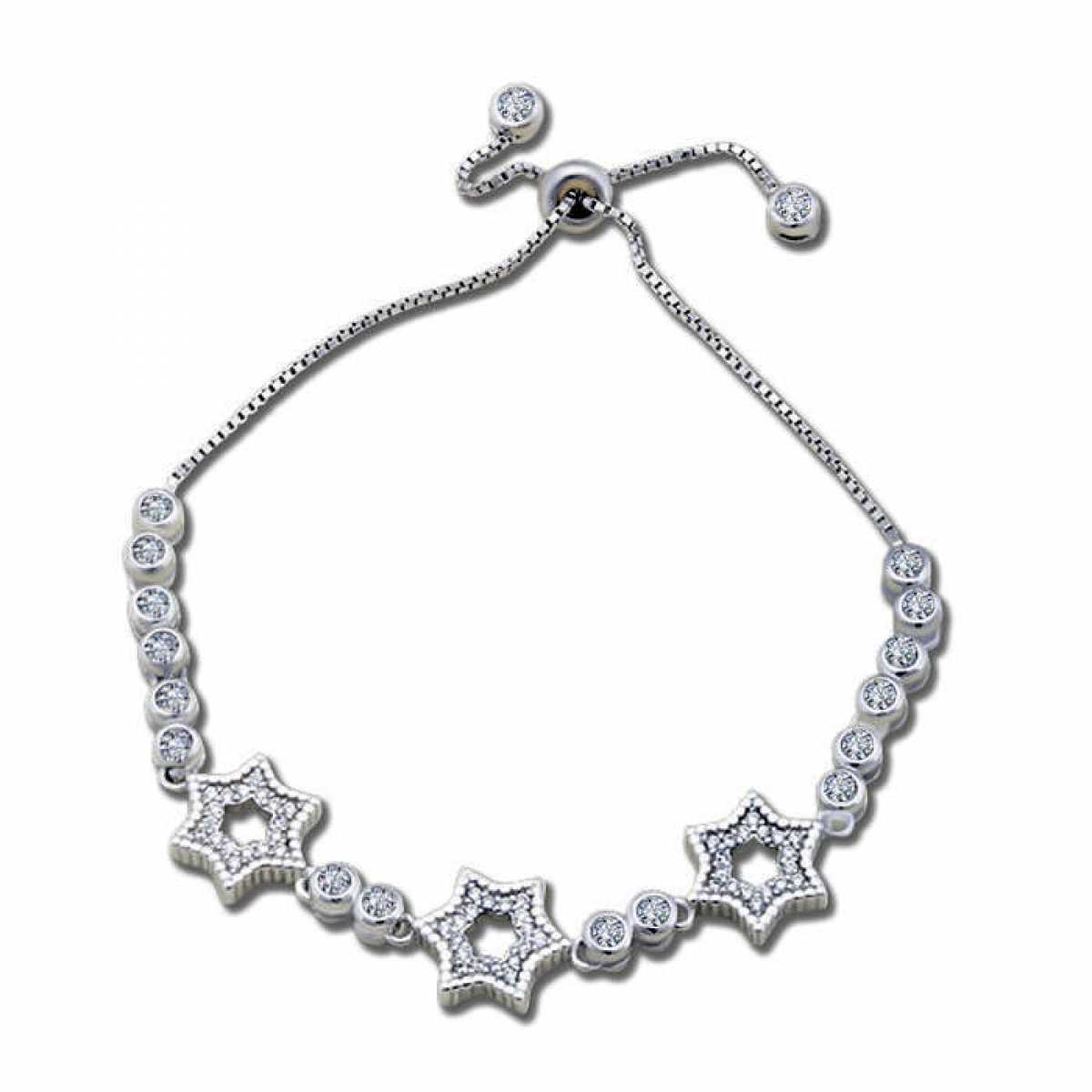 Three Star In Circle Silver Bracelet