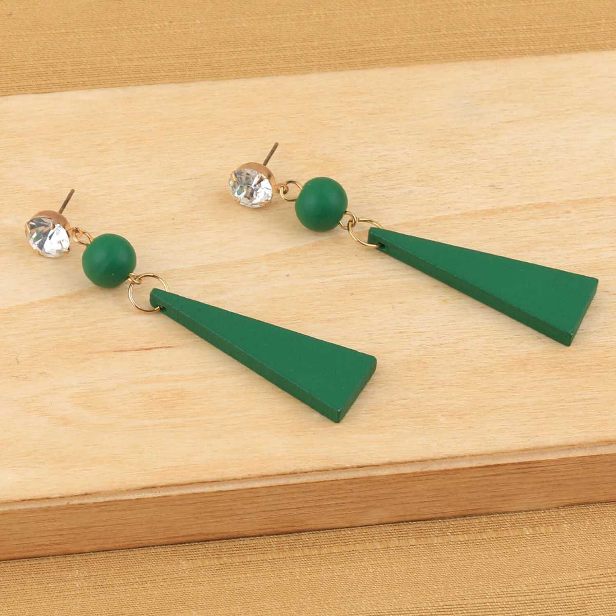 SILVER SHINE Beautiful Stylish Diamond Green Wooden Light Weight Dangler Earrings for Girls and Women.