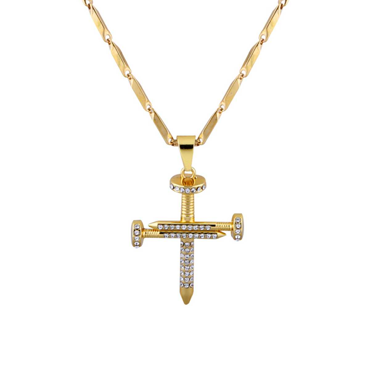 SilverPlated Adorable Chain With Cross pendant With Diamond Studded For Men and boy Jewellery