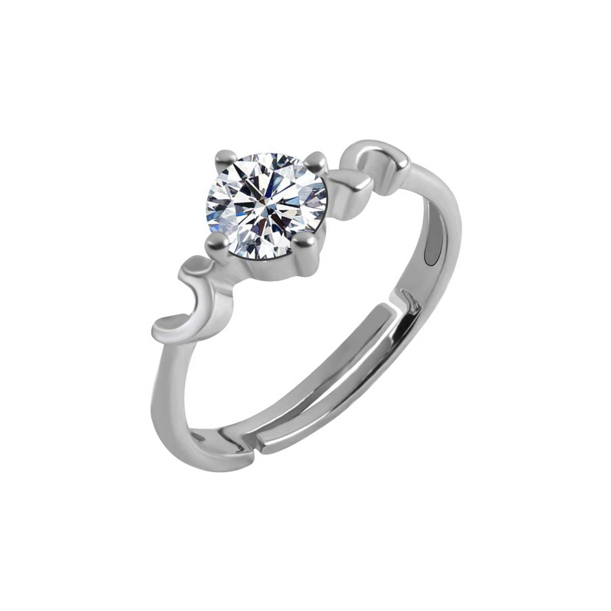 Silver Shine Silver Plated Elegant Classic Crystal Adjustable Ring for Girls and women for wedding