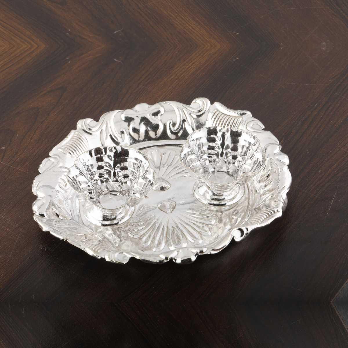 Silver Shine Silver plated Designer kankavati Pooja Thali Set of 1