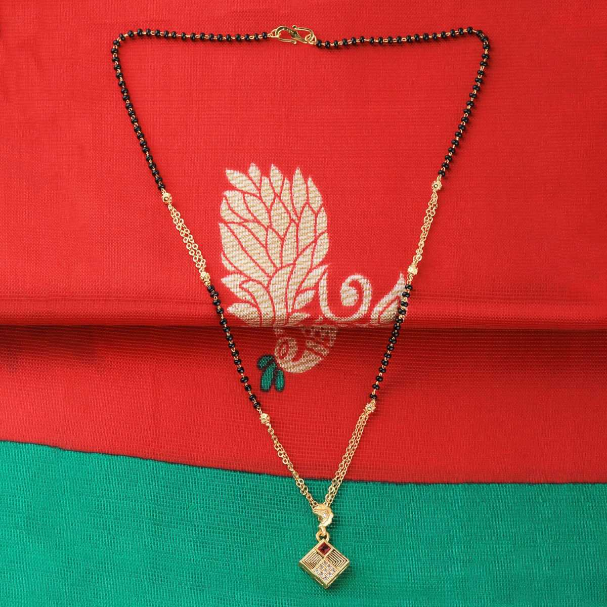 SILVER SHINE Gold Plated Designer Square Pandent Mangalsutra For Women