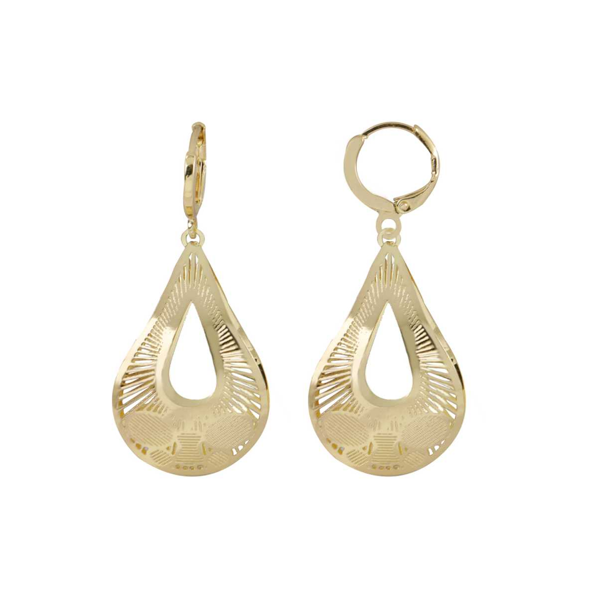 Silver Shine Captivating Golden Drop Shape Clip On Bali Earring for Women
