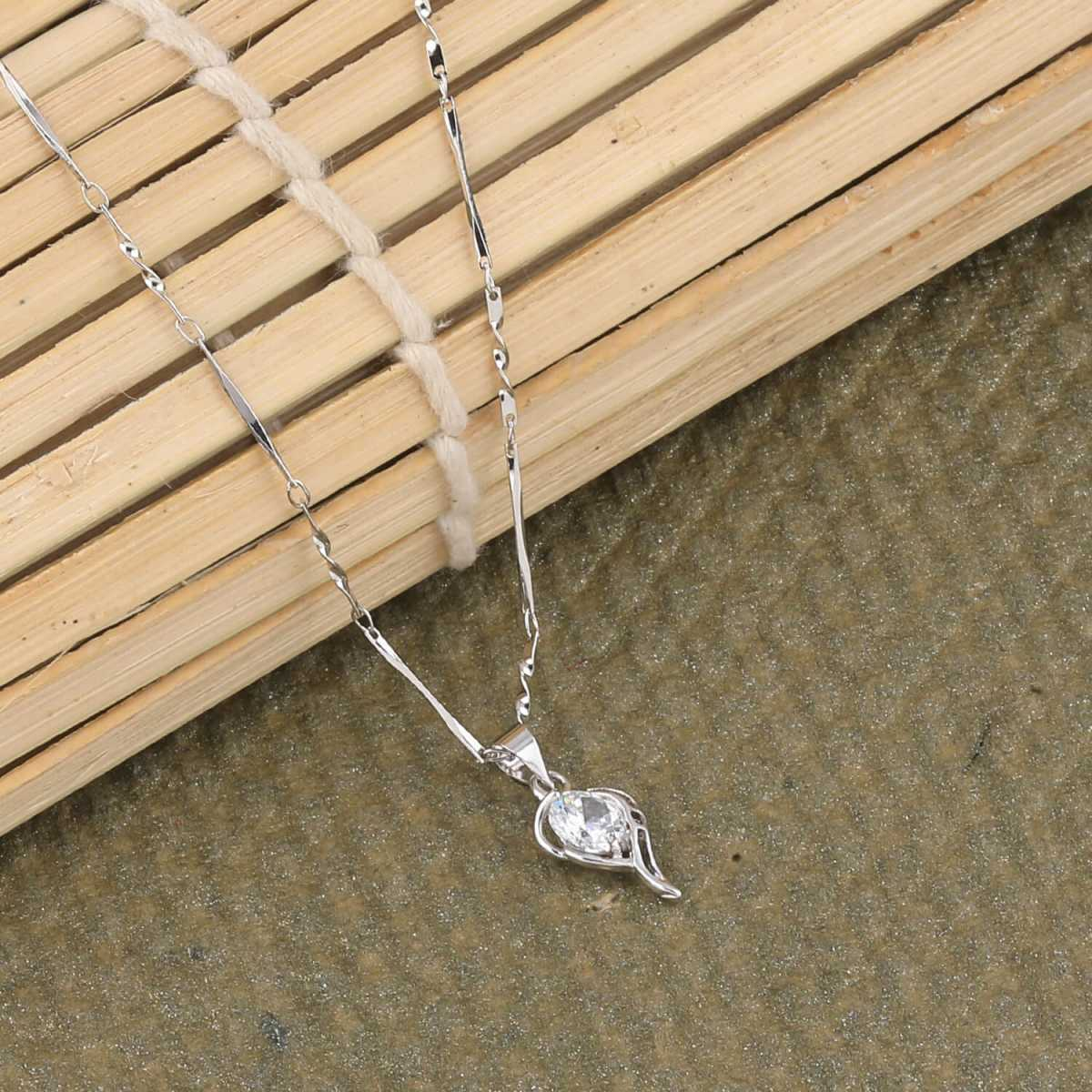 SILVER SHINE  Silver Plated Party Wear Charm Chain Solitaire Diamond Pendant For Women