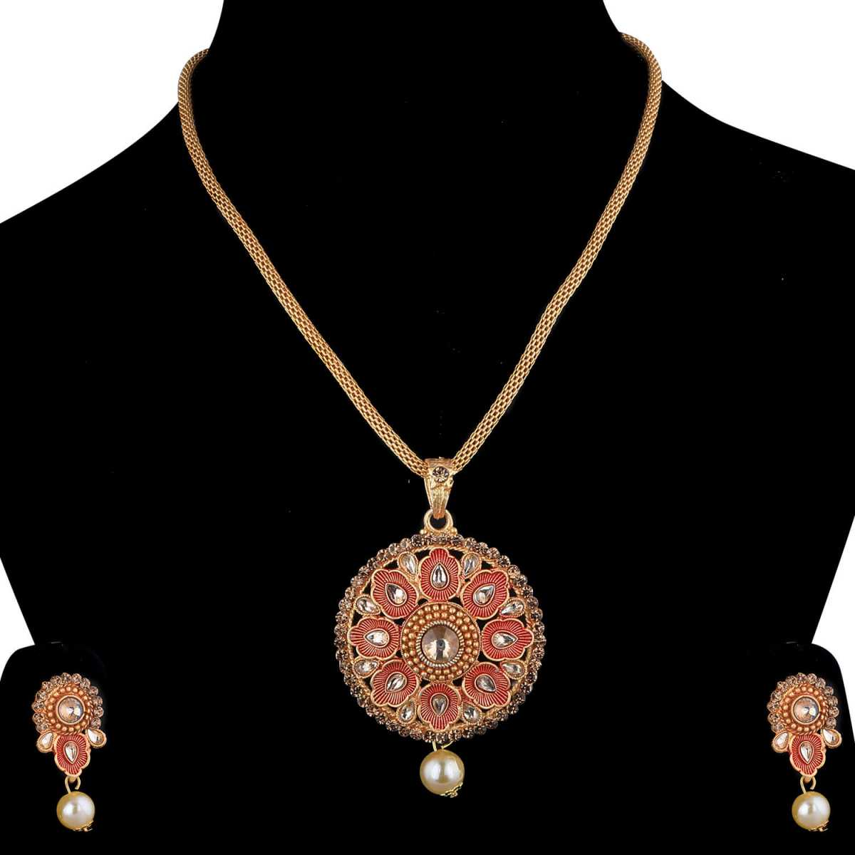 SILVERSHINE Attractive Goldplated Traditional Necklace Pendant  set  for women jewellery