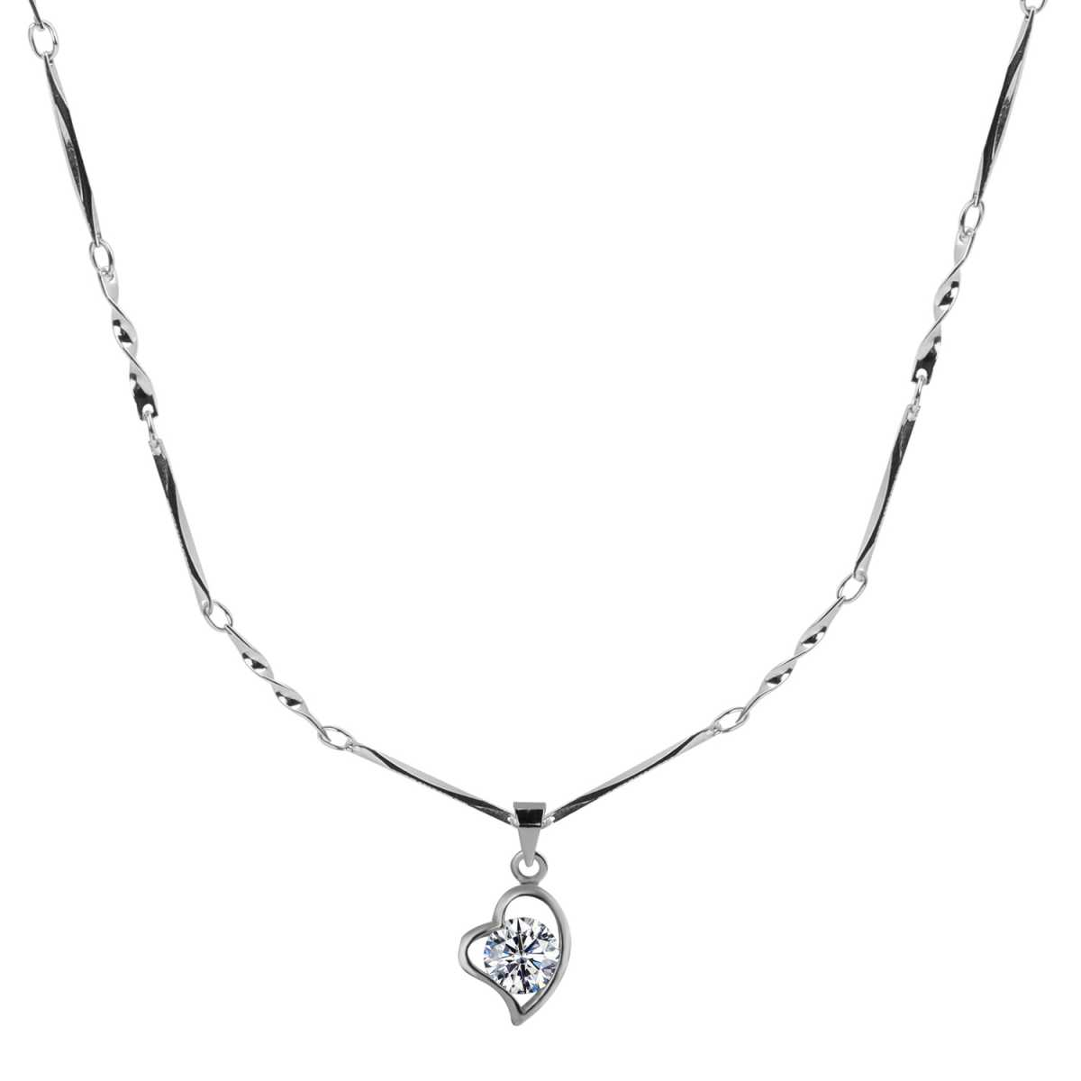 Silver Plated Chain With Heart Shape Solitaire Diamond Pendant   For Women