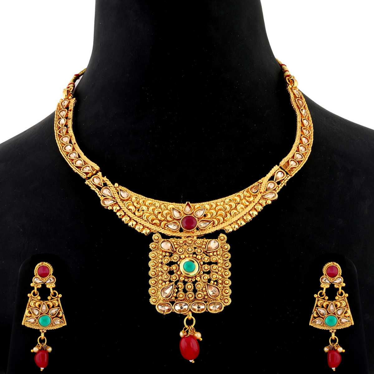 Silver Shine Traditional Gold Plated Antique Red and Green kundan Stone Studded Self Textured Red Bead Drop Designer Party Wear Wedding Necklace jewellery Set For Girls and women