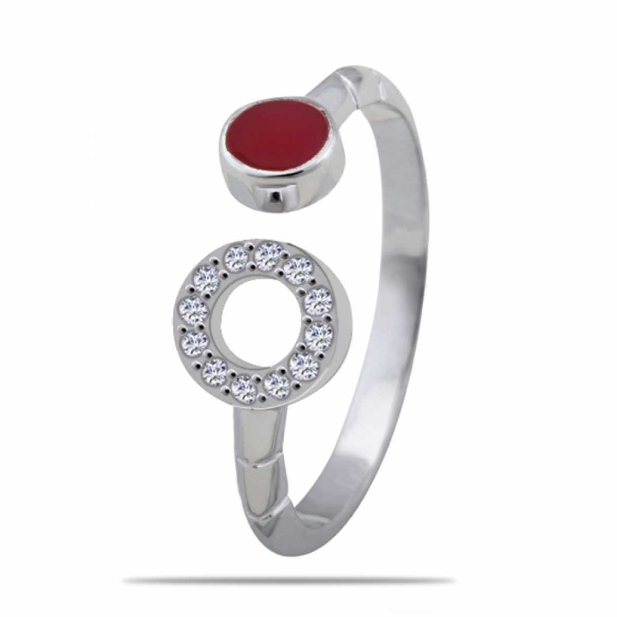 Red And Open Circle Silver Ring