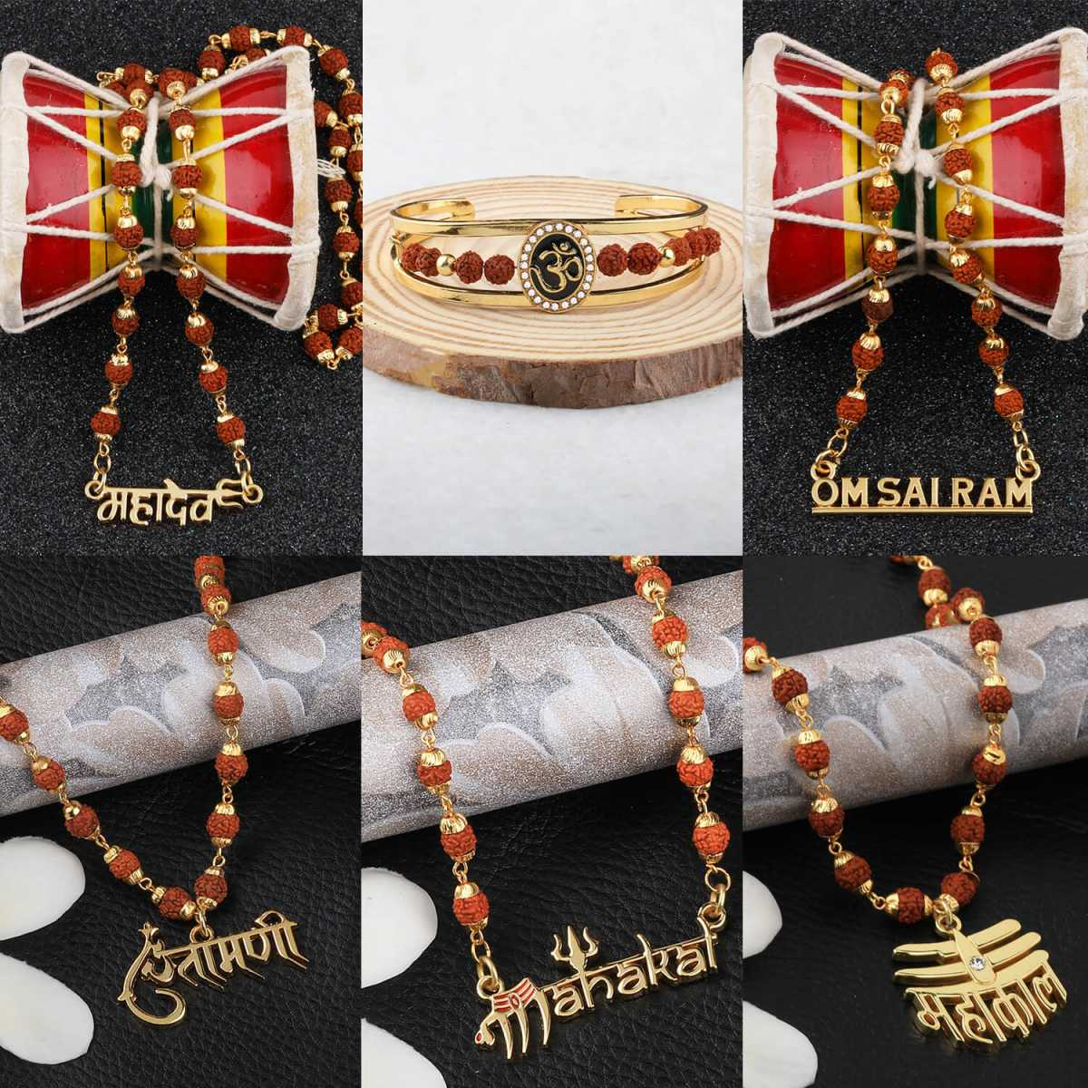 Gold Plated Traditional Combo Kada And  Mala Pendant for Men and Women-set 6