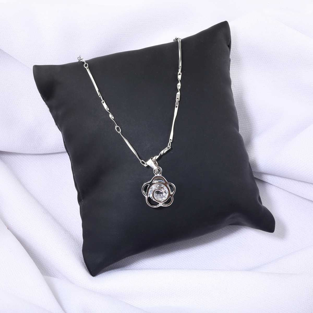 Silver Plated Chain With Small Flower Diamond Pendant  For Women