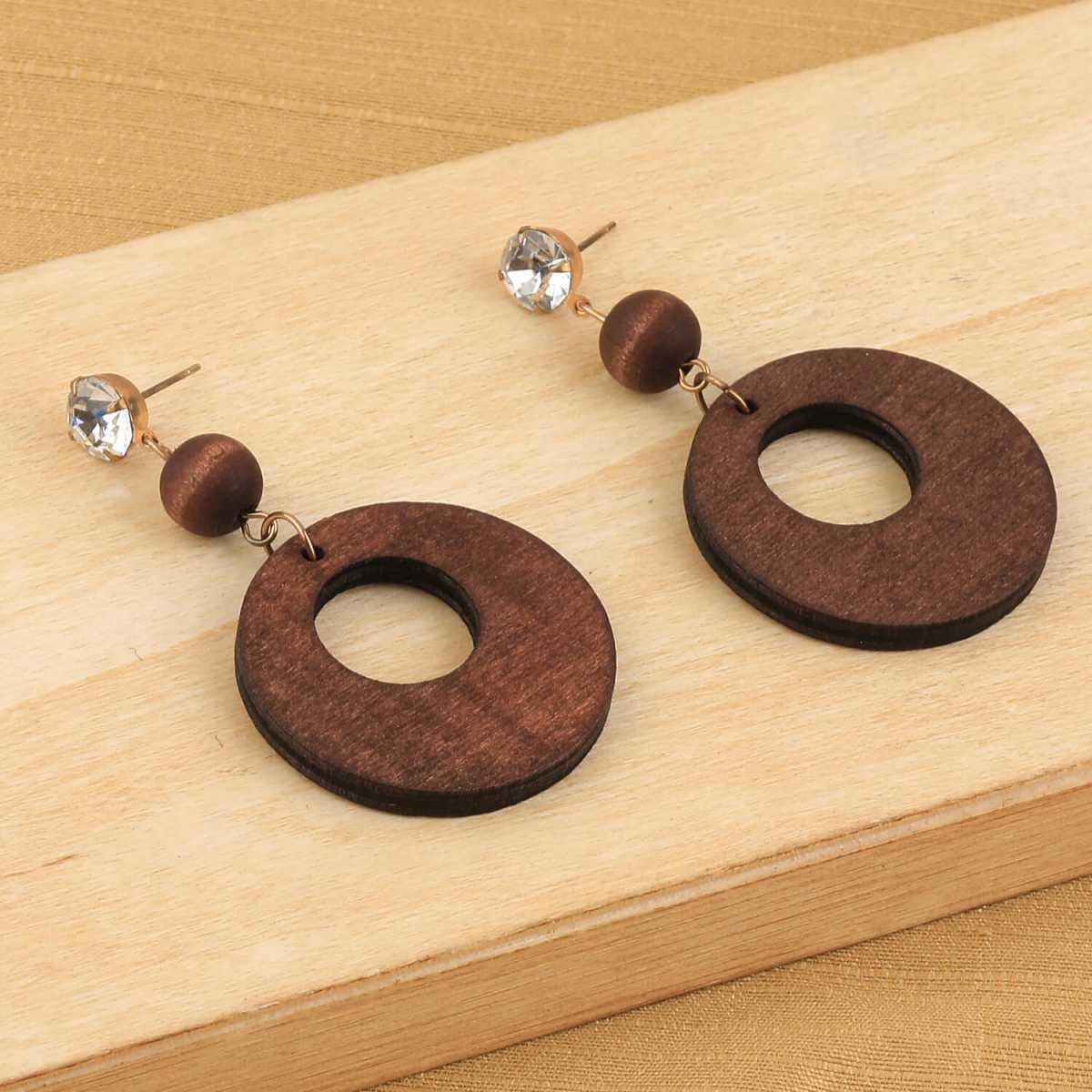 SILVER SHINE Elegant Dangler Diamond Brown Wooden Earrings For Girls and Women …