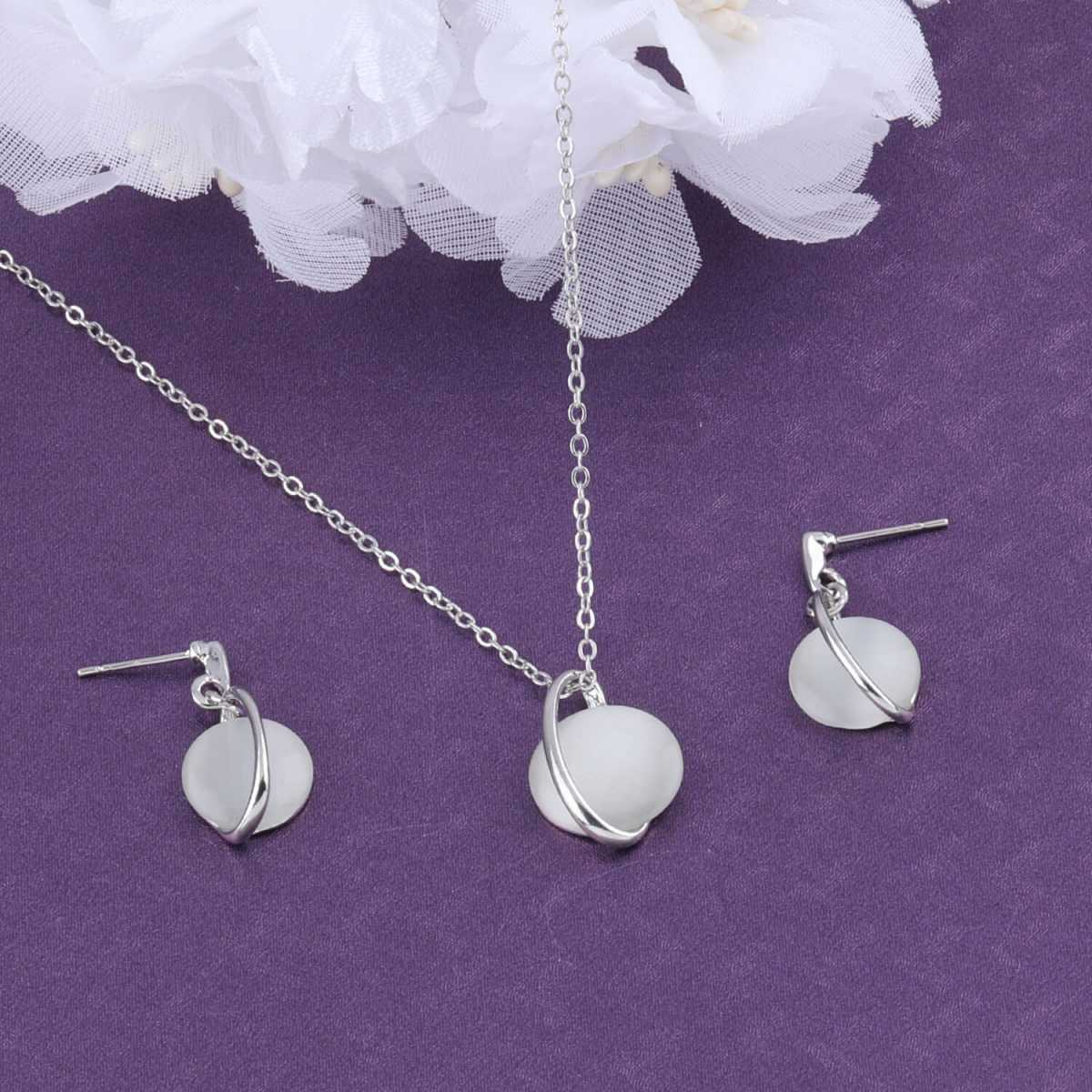 SILVER SHINE Stylish Delicate Silver Plated  Pendant Set For Women Girl
