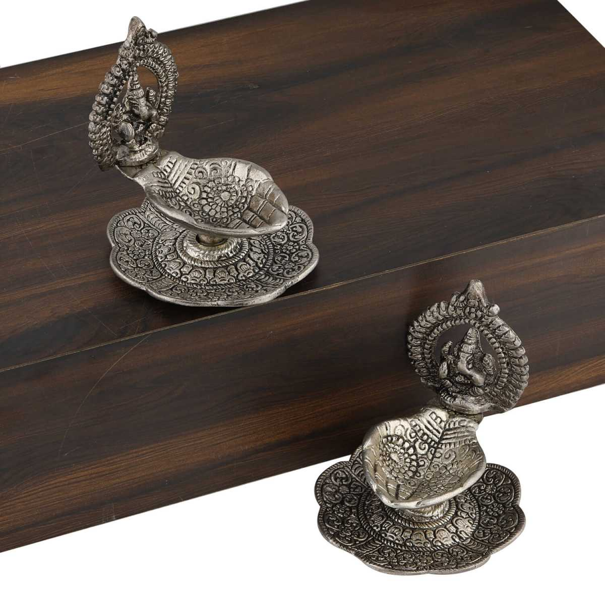 Silver Shine Silver Plated Oxidised Designer Ganesha Design Diya Set of 2