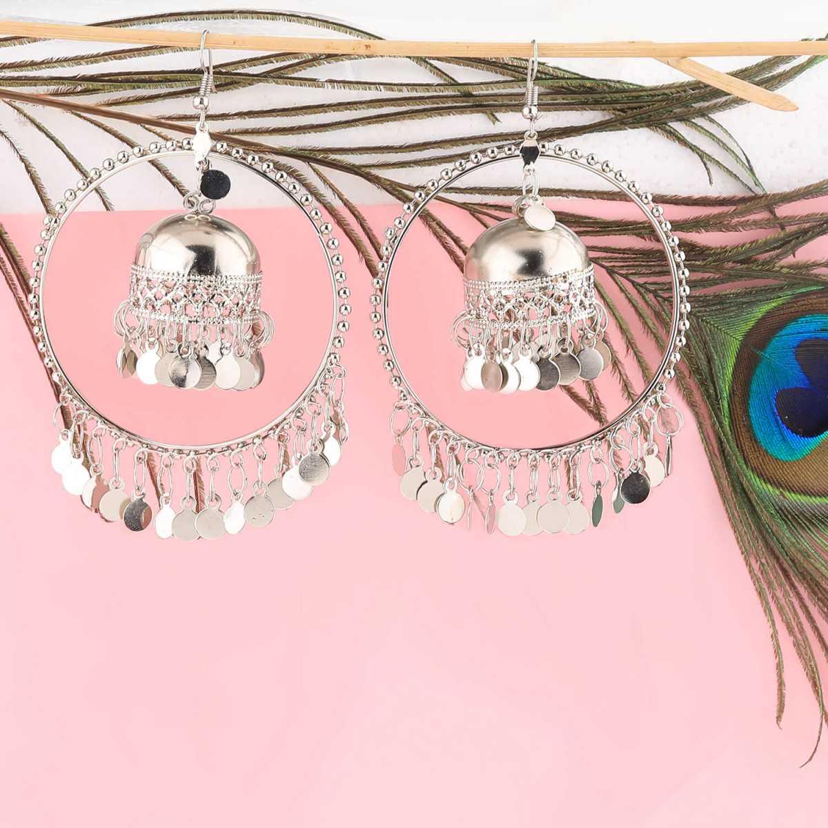 Silver Shine Stylish Party Wear Silver  jumki Dangle Earrings For Women Girl