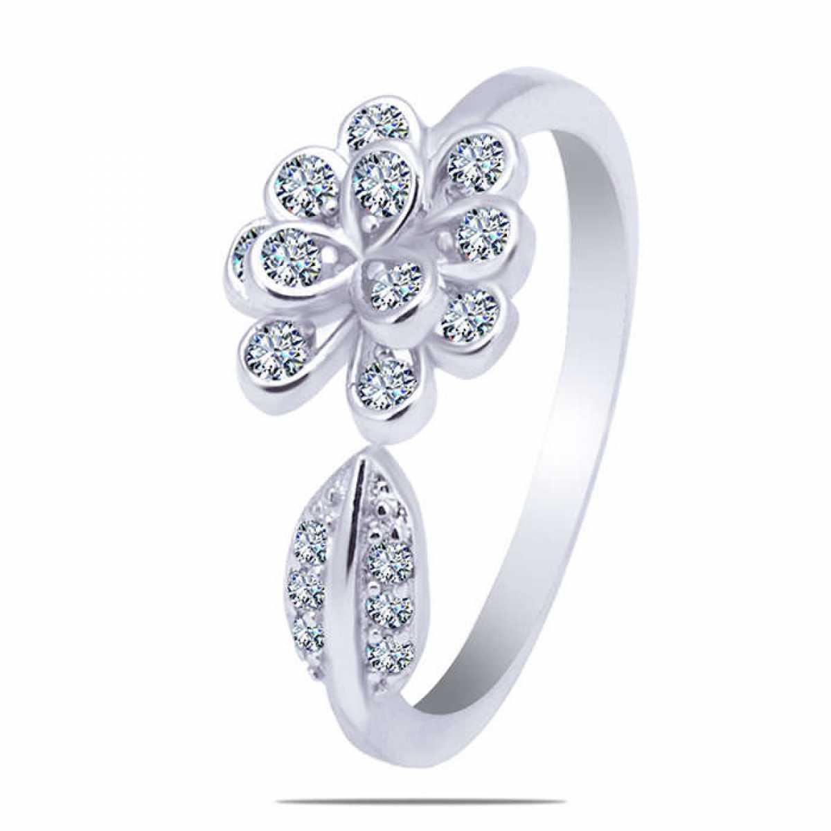 Leaf-Flower Sterling Silver Ring