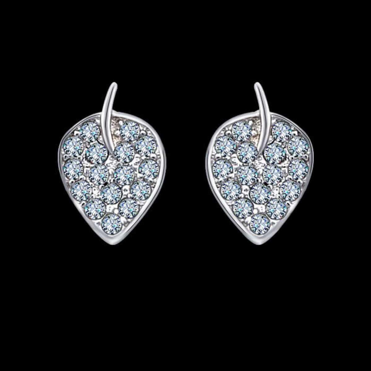 Diamond Leaf Stud Earring