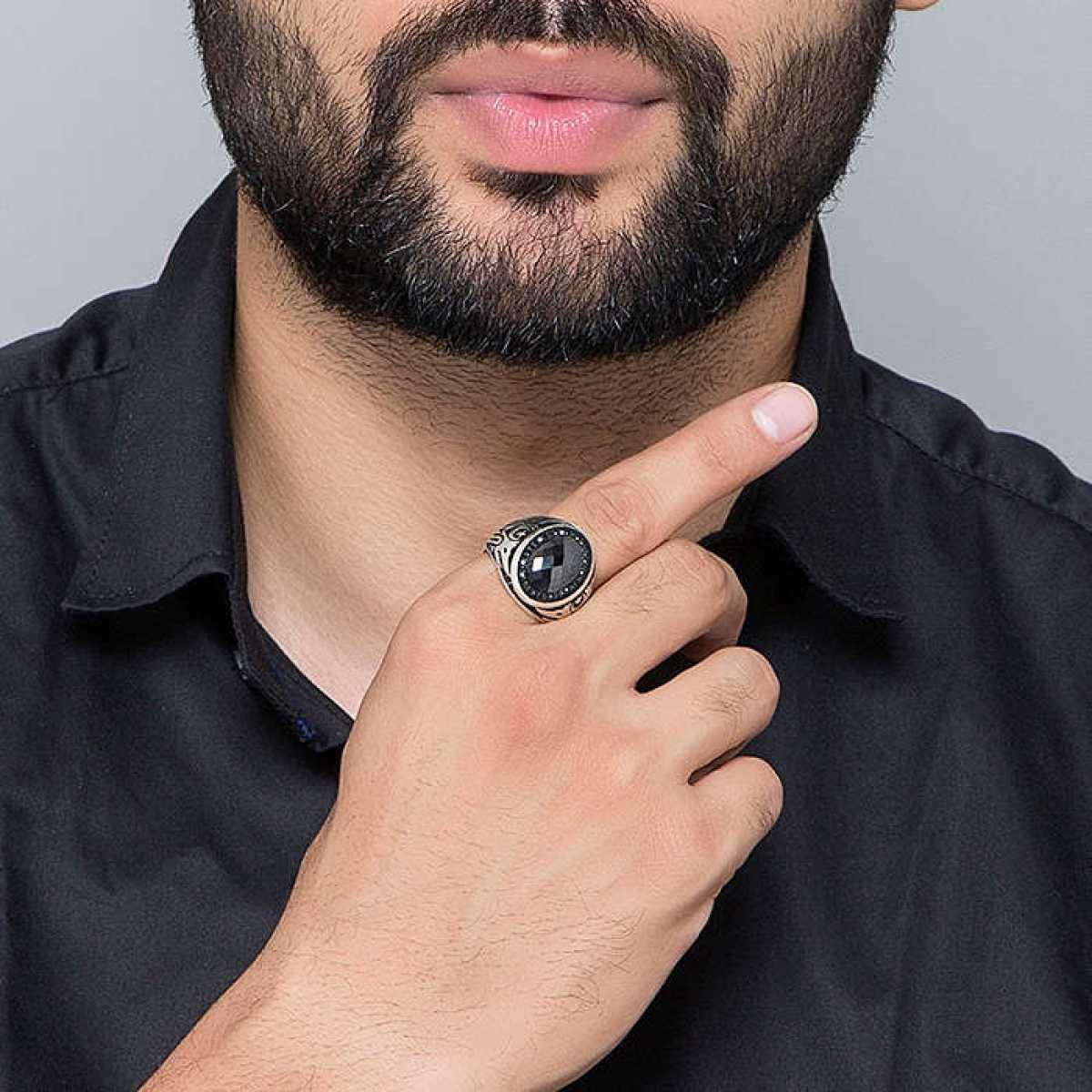 Silver Shine 92.5 Sterling Silver  Trendy Black Diamond Ring  for Mens